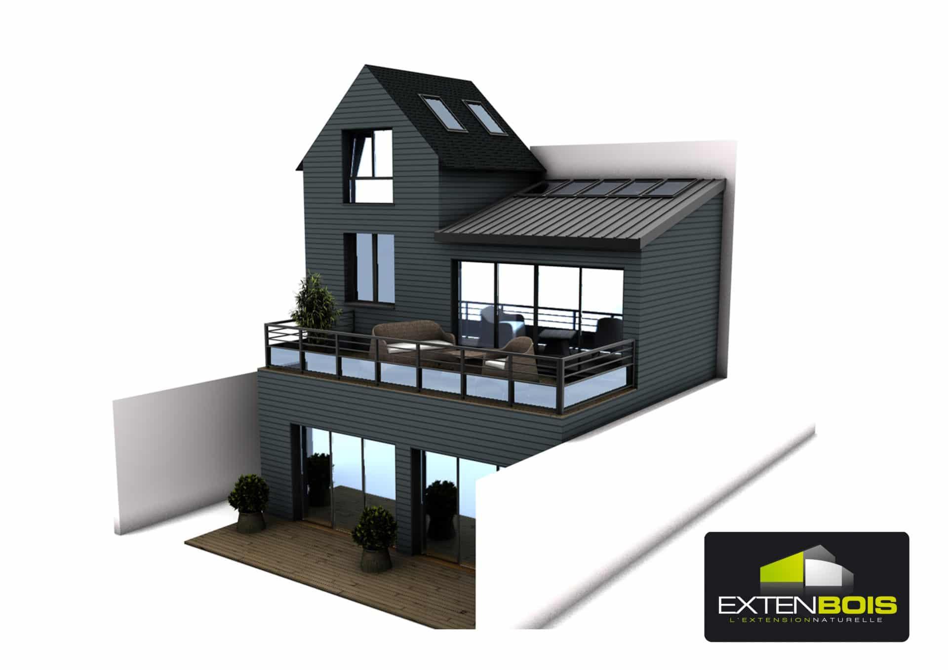 extension sur l vation bois maison morbihan i extenbois. Black Bedroom Furniture Sets. Home Design Ideas