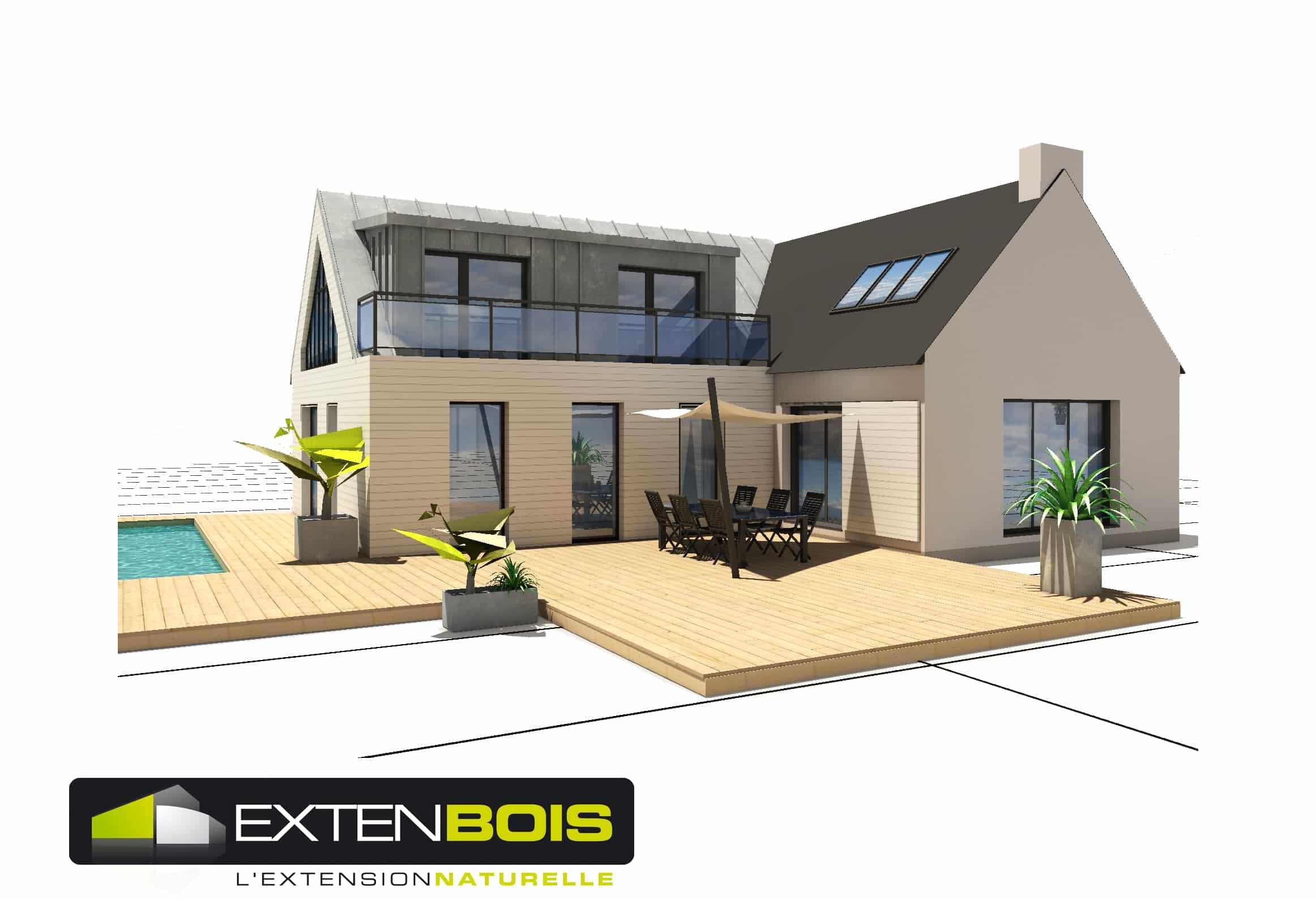 grande extension bois avec tage en ille et vilaine. Black Bedroom Furniture Sets. Home Design Ideas
