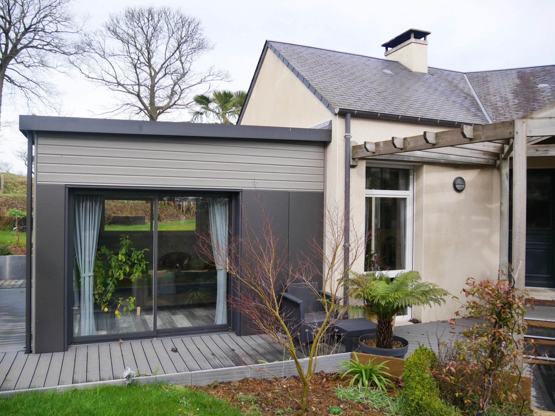Extension bois en ille et vilaine ajout d 39 un salon for Extension maison 35