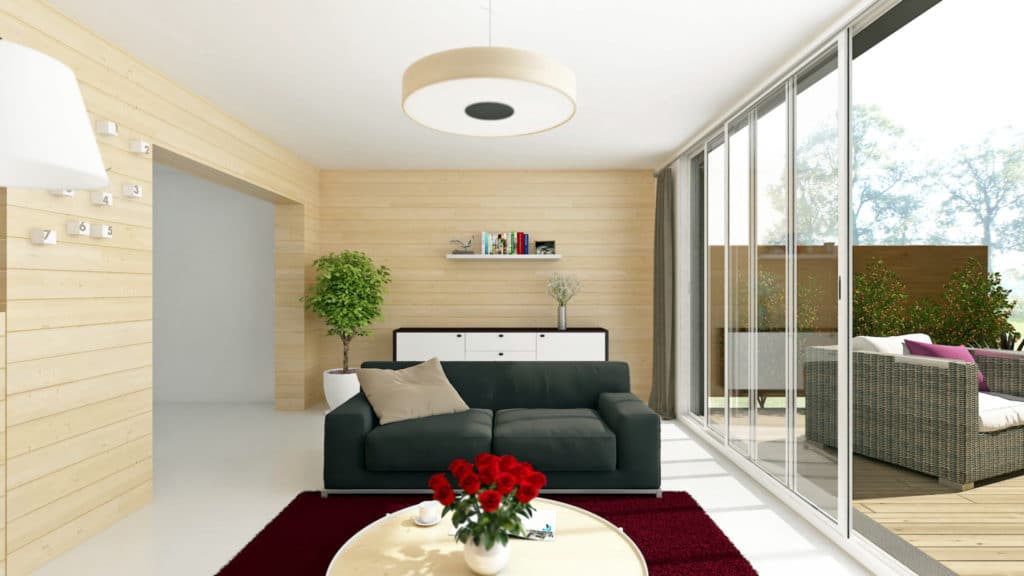La salon créé via l'extension est très lumineux et véritablement ouvert sur la terrasse et le jardin amenant une continuité entre ces deux espaces à vivre