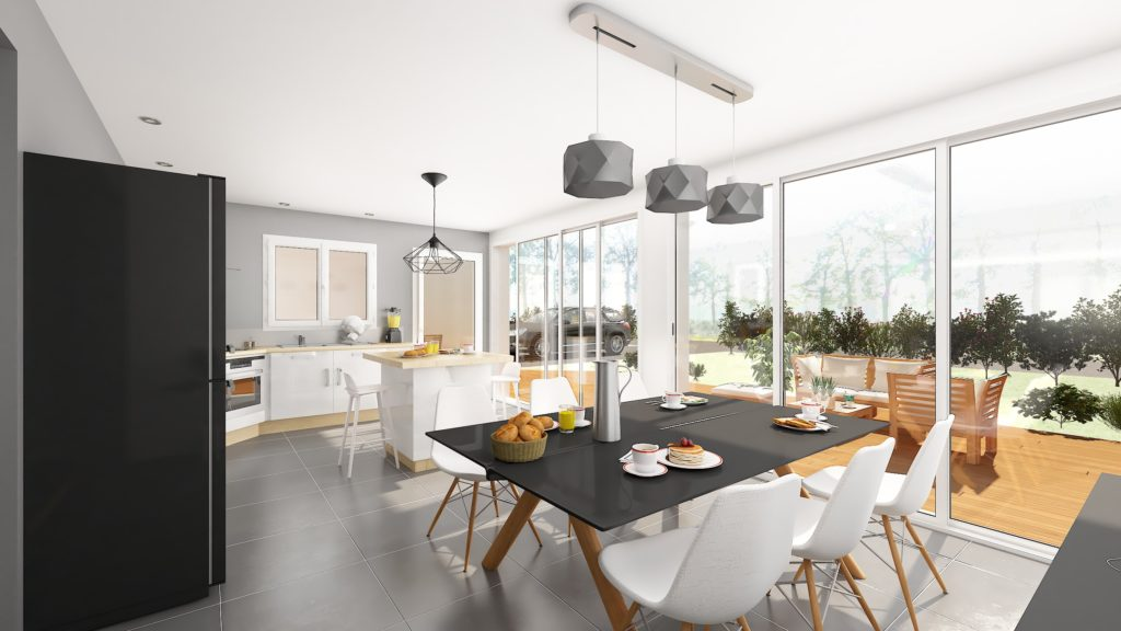 L'extension permet la création d'un nouvel espace repas avec une vue dégagée sur la terrasse et le jardin. Les baies vitrées apportent énormément de lumière à la pièce.