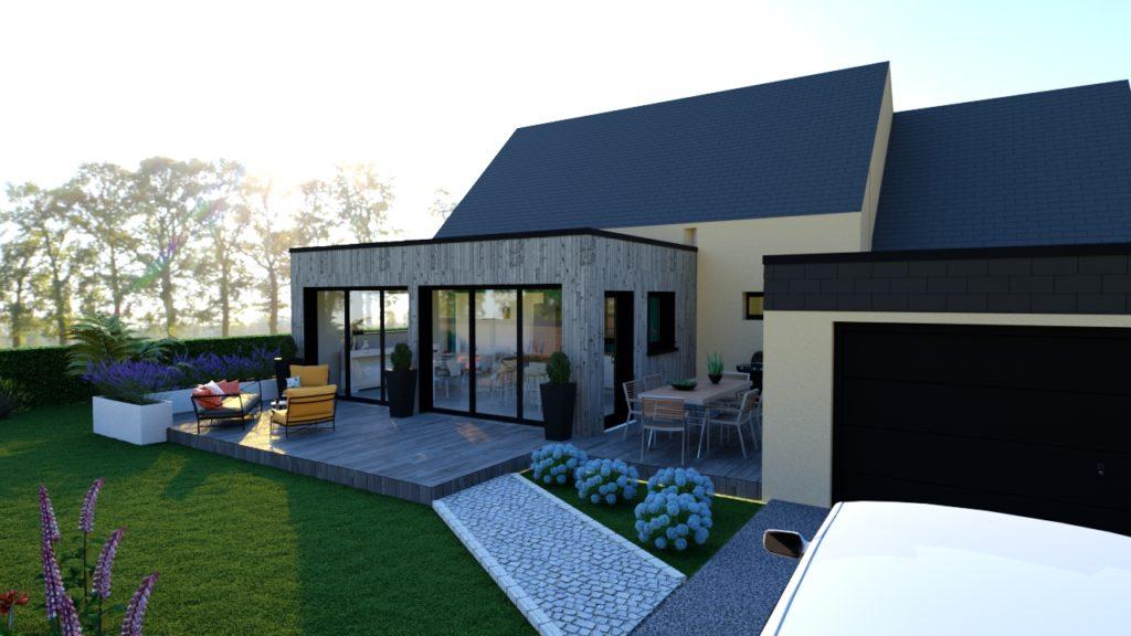La nouvelle extension apporte du caractère à la maison tout en apportant luminosité avec les grandes ouvertures.