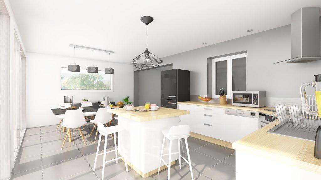 Avec la construction de l'extension, le nouvel espace peut maintenant accueillir une cuisine pour transformer cette pièce en véritable espace repas.