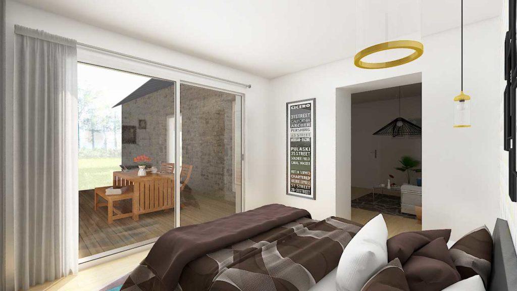 La chambre permet d'adapter la maison de plain-pied