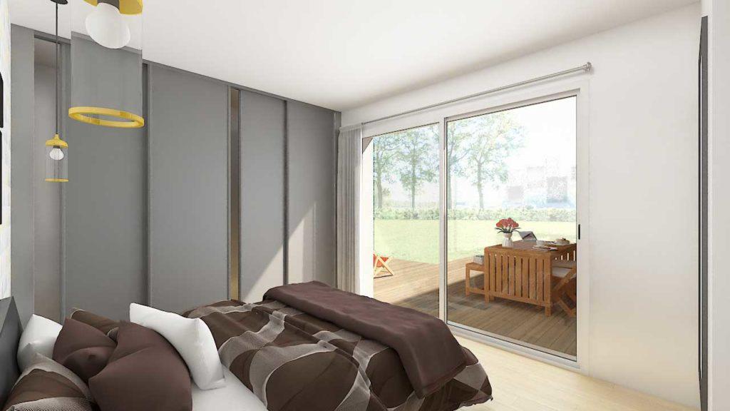 L'exposition idéale de la chambre, couplée à la baie vitrée, lui permet de bénéficier d'une très bonne luminosité