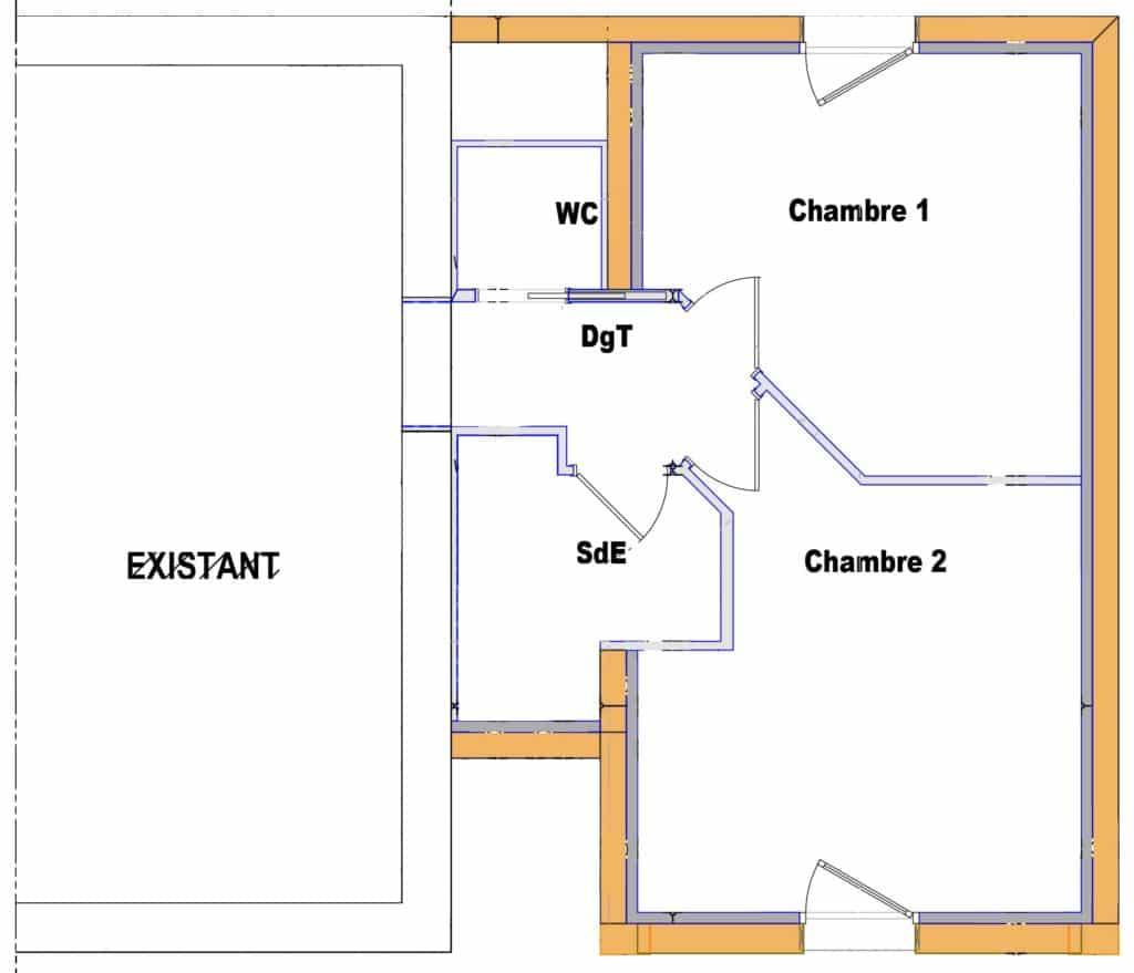 L'extension accueille à l'étage 2 chambres et 1 salle de bains