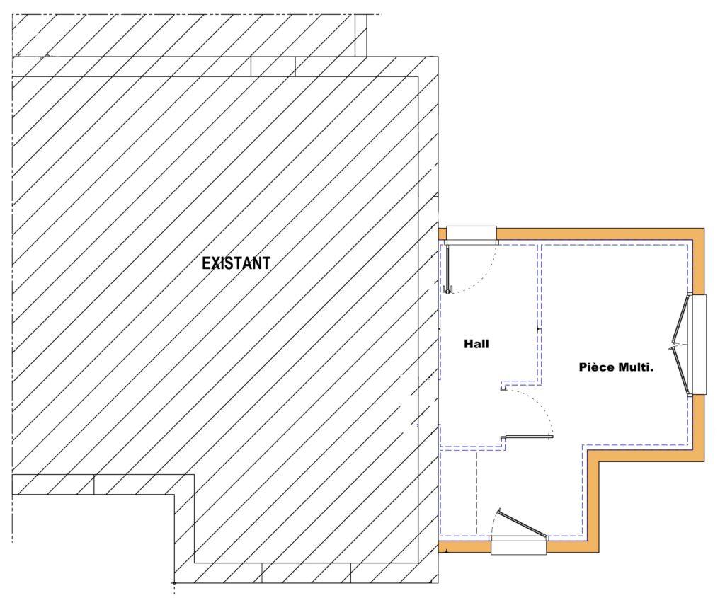 Cette extension ossature bois permet la création d'un hall d'entrée et d'une pièce pouvant servir de chambre ou de bureau