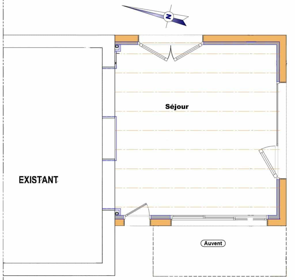 Rez-de-chaussée de l'extension accueillant un salon