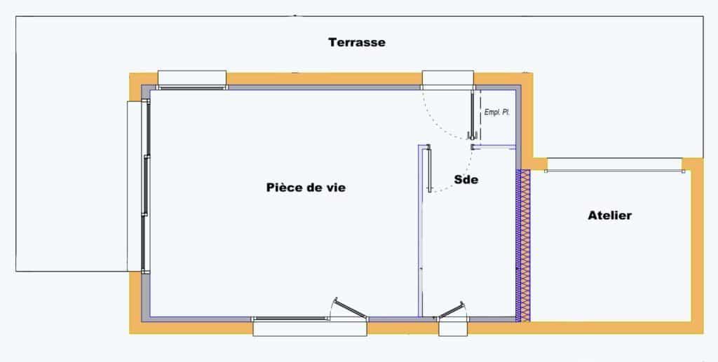Le studio est composé d'une pièce à vivre, d'une salle d'eau et d'un atelier