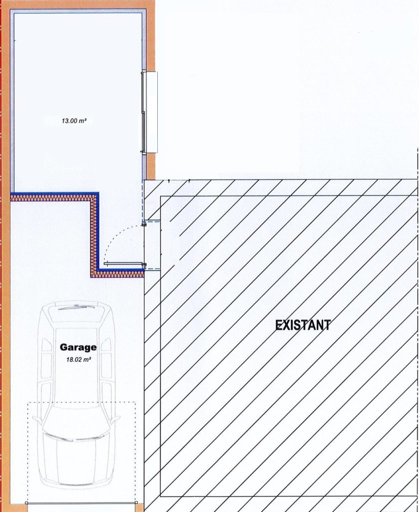 Plan de l'extension en bois qui accueille un salon et un garage