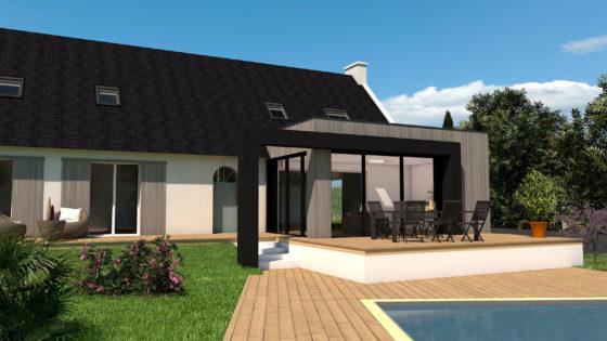 Projet d'extension bois aux abords d'une piscine