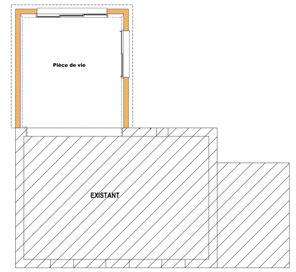 L'extension permet d'agrandir le salon existant et d'ajouter 20 mètres carrés