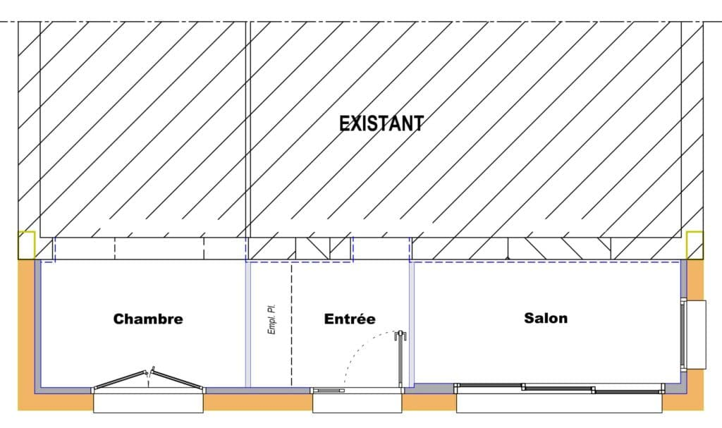 Plan extension en bois