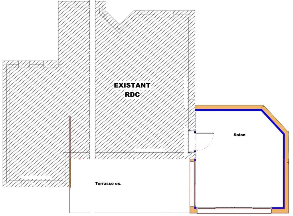 Plan rez-de-chaussée extension