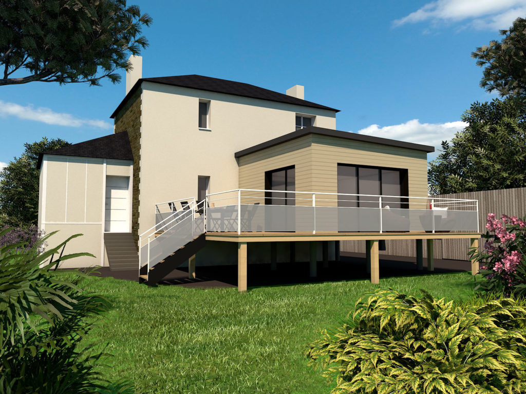 Une extension surélevée sur une terrasse avec pilotis pour être au même niveau que la pièce à vivre existante et bénéficier d'un accès sur l'extérieur