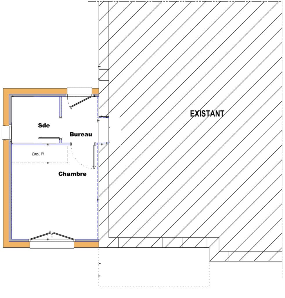 Plan extension suite parentale à Saint-Philibert