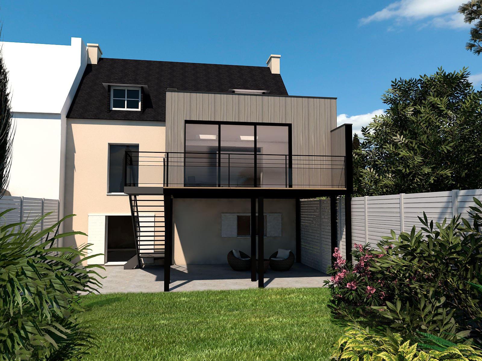Extension maison quimper cr er un salon extenbois - Combien de brique pour une maison ...