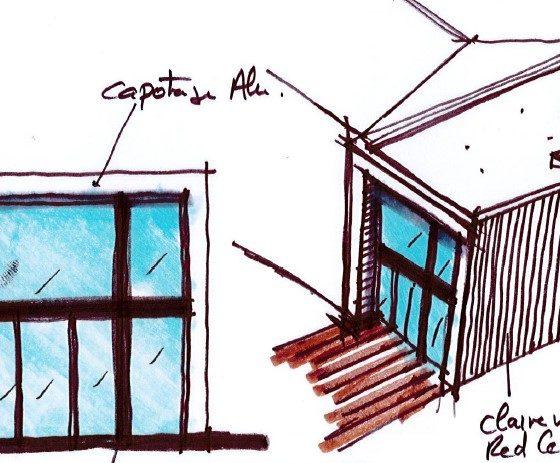 Croquis extérieur de l'extension bois en arche