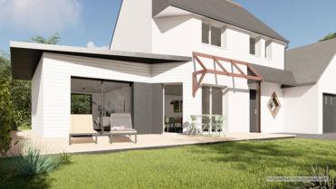 Perspective 3D d'un projet d'extension réalisé par Extenbois