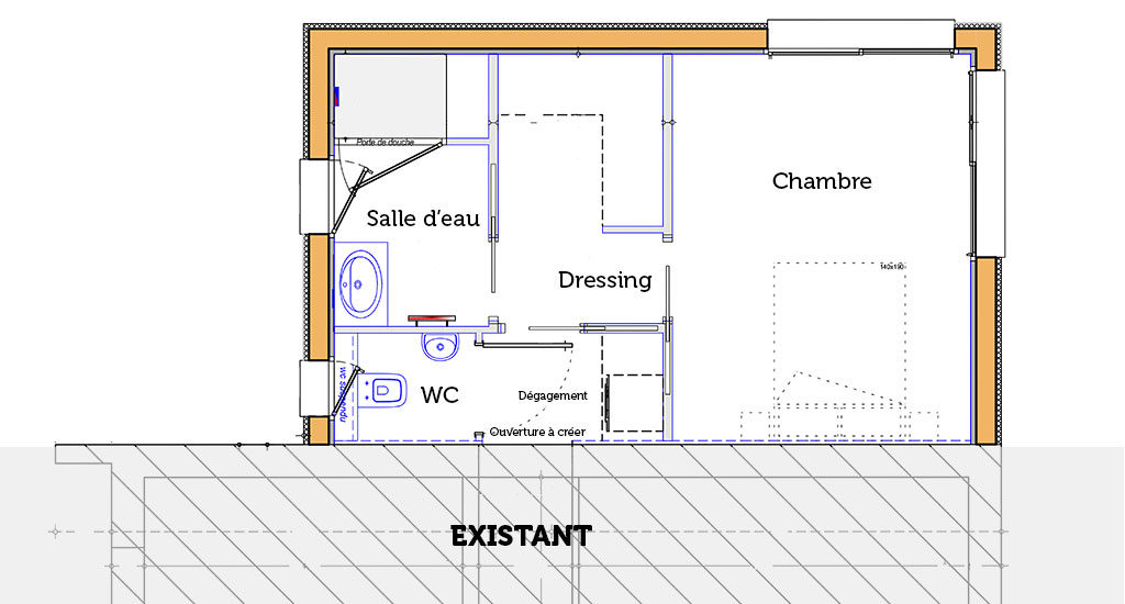 Plan d'extension d'une suite parentale Extenbois