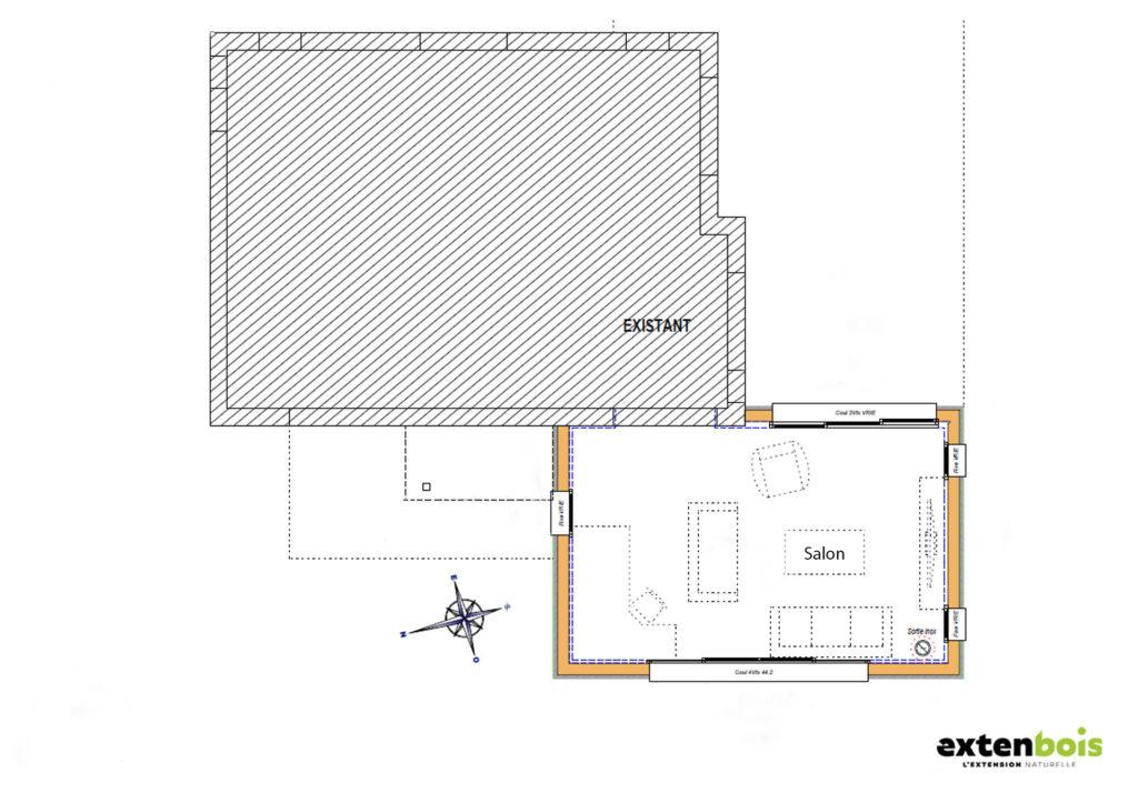 plan-extension-salon-extenbois-morlaix